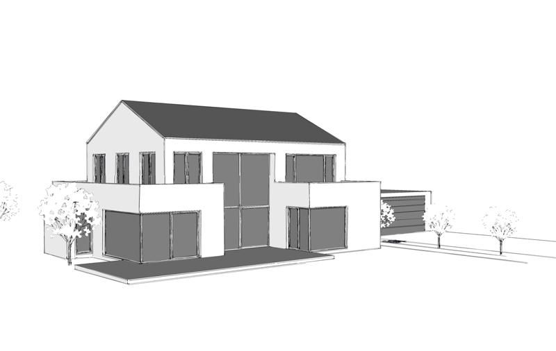 Einfamilienhaus b1 b scher architektur - Architektur skizze ...